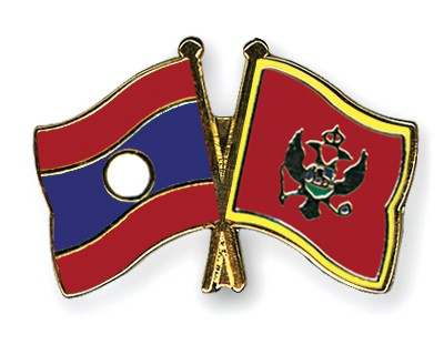 Crossed Flag Pins Laos-Montenegro