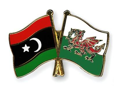 Crossed Flag Pins Libya-Wales