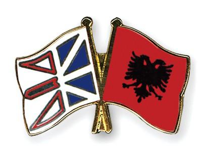 Crossed Flag Pins Newfoundland-and-Labrador-Albania