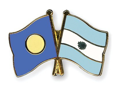 Crossed Flag Pins Palau-Argentina