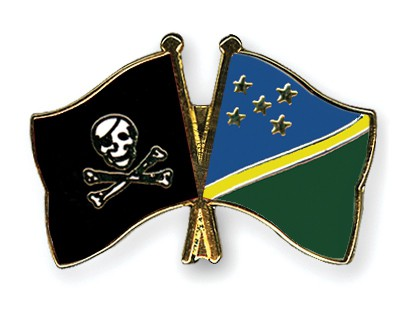 Crossed Flag Pins Pirate-with-Bone-Solomon-Islands