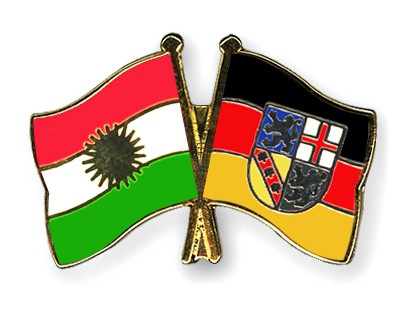 Crossed Flag Pins Kurdistan-Saarland