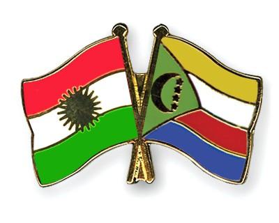 Crossed Flag Pins Kurdistan-Comoros