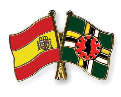 Crossed Flag Pins Spain-Dominica
