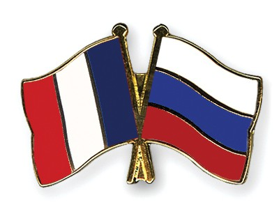 Crossed Flag Pins France-Russia