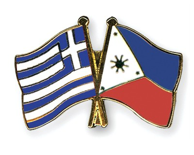 Crossed Flag Pins Greece-Philippines