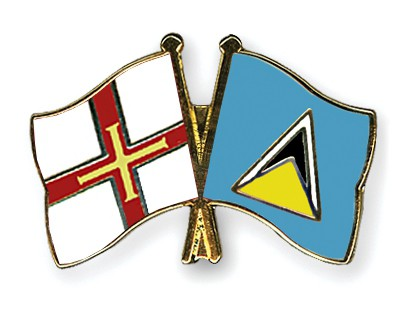 Crossed Flag Pins Guernsey-Saint-Lucia