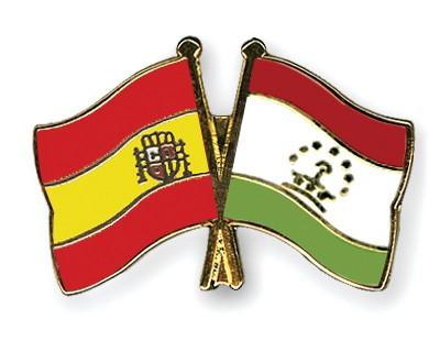 Crossed Flag Pins Spain-Tajikistan
