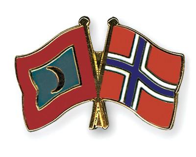 Crossed Flag Pins Maldives-Norway