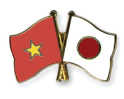 Crossed Flag Pins Vietnam-Japan