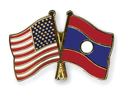 Special Offer Crossed Flag Pins USA-Laos