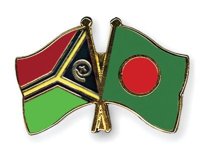 Crossed Flag Pins Vanuatu-Bangladesh