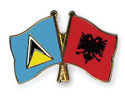 Crossed Flag Pins Saint-Lucia-Albania