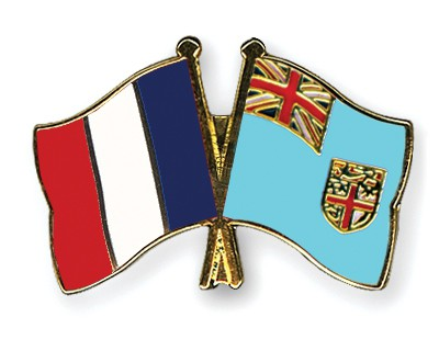 Crossed Flag Pins France-Fiji