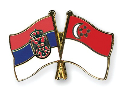 Crossed Flag Pins Serbia-without-Crest-Singapore
