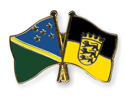 Crossed Flag Pins Solomon-Islands-Baden-Wuerttemberg