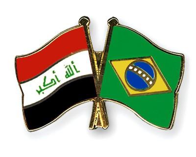Crossed Flag Pins Iraq-Brazil