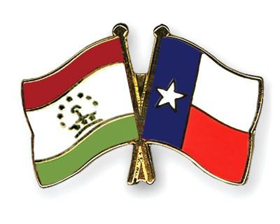 Crossed Flag Pins Tajikistan-Texas
