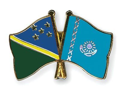 Crossed Flag Pins Solomon-Islands-Kazakhstan