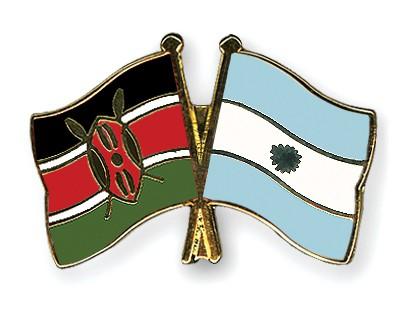 Crossed Flag Pins Kenya-Argentina