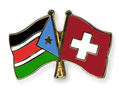Crossed Flag Pins South-Sudan-Switzerland