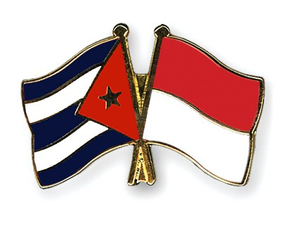 Crossed Flag Pins Cuba-Indonesia
