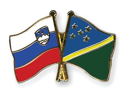 Crossed Flag Pins Slovenia-Solomon-Islands
