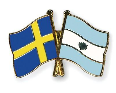 Crossed Flag Pins Sweden-Argentina