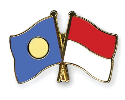 Crossed Flag Pins Palau-Indonesia