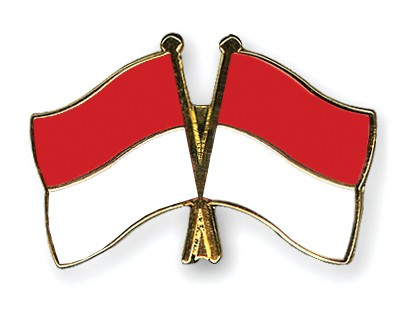 Special Offer Crossed Flag Pins Indonesia-Monaco