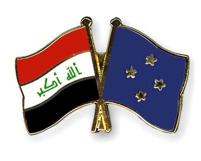 Crossed Flag Pins Iraq-Micronesia
