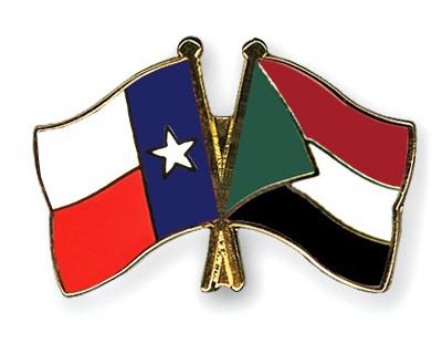 Crossed Flag Pins Texas-Sudan