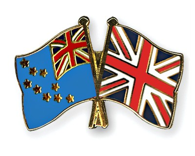 Crossed Flag Pins Tuvalu-Great-Britain