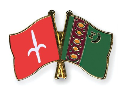 Crossed Flag Pins Trieste-Turkmenistan