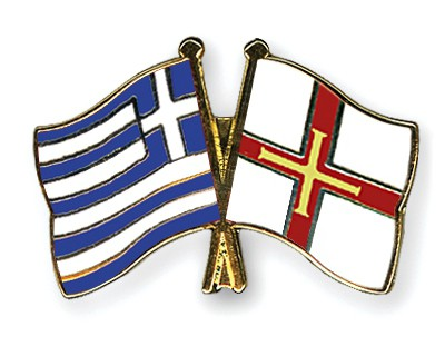 Crossed Flag Pins Greece-Guernsey
