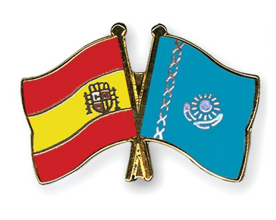 Crossed Flag Pins Spain-Kazakhstan