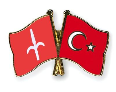 Crossed Flag Pins Trieste-Turkey
