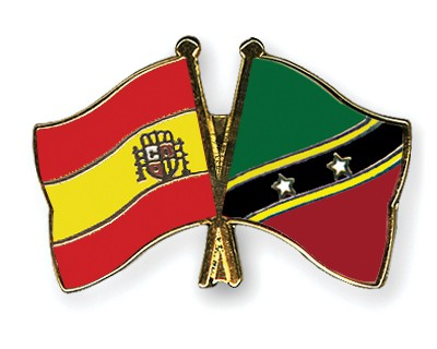 Crossed Flag Pins Spain-Saint-Kitts-and-Nevis