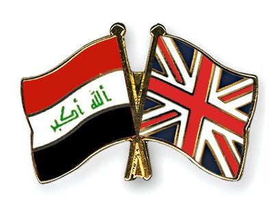 Crossed Flag Pins Iraq-Great-Britain