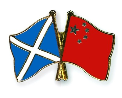 Special Offer Crossed Flag Pins Scotland-China