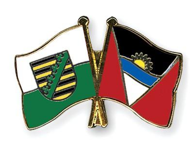Crossed Flag Pins Saxony-Antigua-and-Barbuda