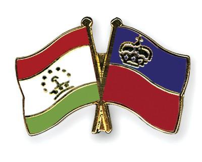 Crossed Flag Pins Tajikistan-Liechtenstein
