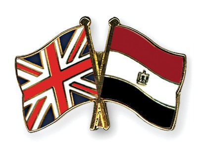 Crossed Flag Pins Great-Britain-Egypt