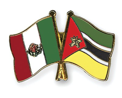 Crossed Flag Pins Mexico-Mozambique