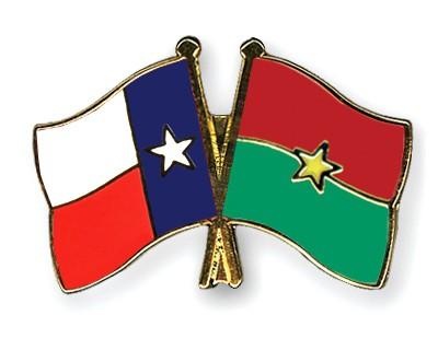Crossed Flag Pins Texas-Burkina-Faso