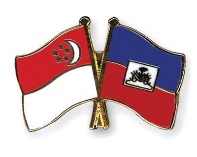 Crossed Flag Pins Singapore-Haiti