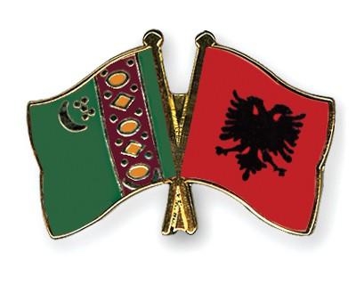 Crossed Flag Pins Turkmenistan-Albania