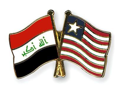 Crossed Flag Pins Iraq-Liberia