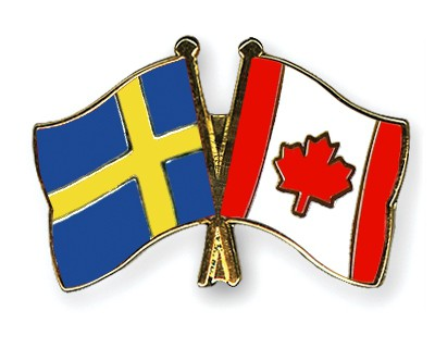 Special Offer Crossed Flag Pins Sweden-Canada