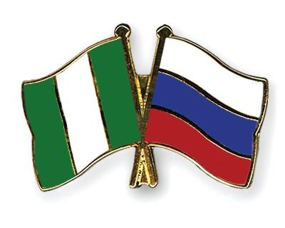 Crossed Flag Pins Nigeria-Russia